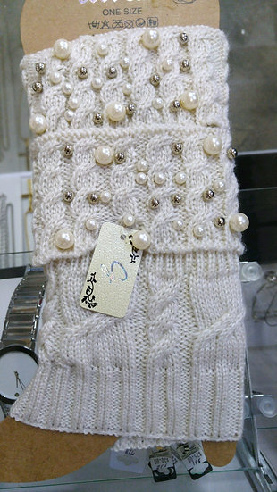 Knit Pearl Accent Boot Toppers