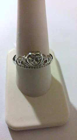 Sterling Silver Heart Crown Ring