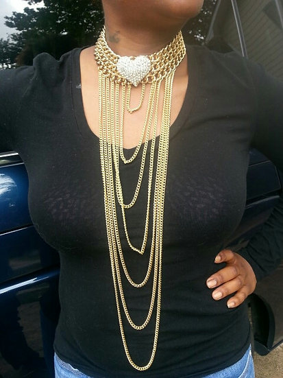 CZ & Gold Heart Collar