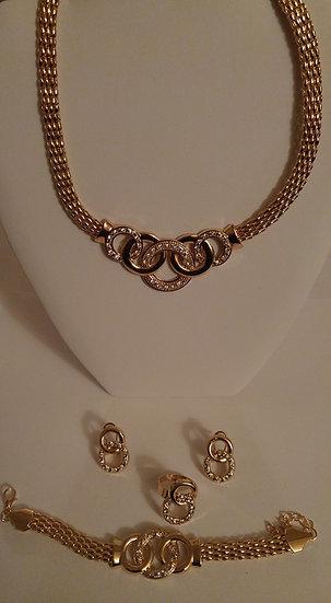 Gold & CZ Necklace Set