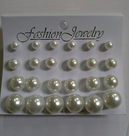 12pc Pearl Earrings