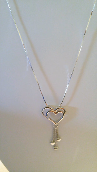 Genuine Sterling Silver Dangling Hearts Necklace