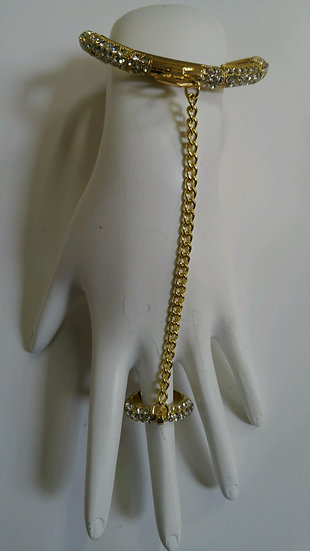 Gold & CZ Stretch Hand Bracelet
