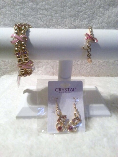 Breast Cancer Awareness Gold Earrings