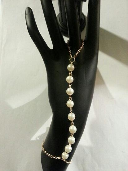 Gold & Pearl Hand Bracelet