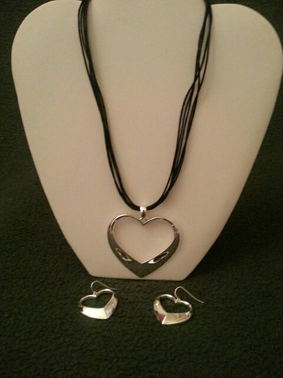 Silver Open Heart Necklace and Earring Set