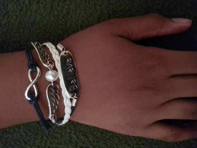 White & Navy Believe Bracelet