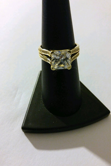Gold over Sterling Silver CZ Ring