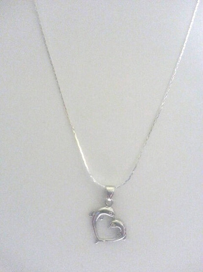 Genuine Sterling Silver Double Dolphin Necklace
