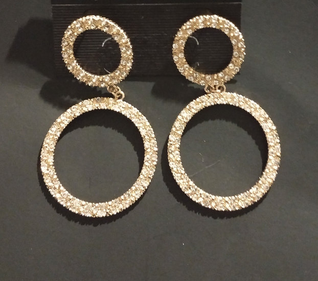 Gold-tone & CZ Double Oval Earring