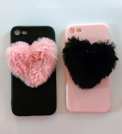 Furry Heart Silicone Phone Case