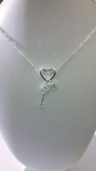 Sterling Silver Heart Lock & Key Necklace