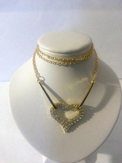 Gold tone CZ Heart Necklace