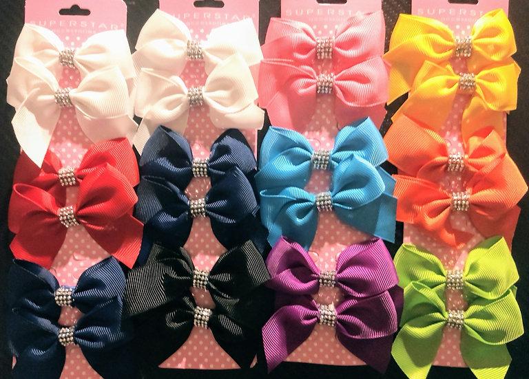 6pc Bling Mini Hair Bows