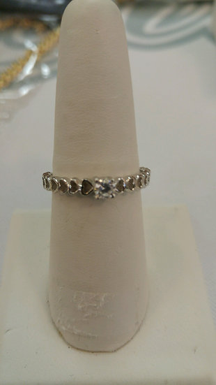 Genuine Sterling Silver Open Heart & CZ Ring