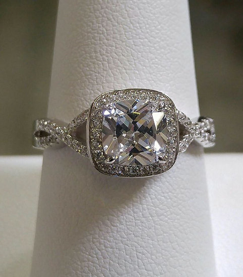 Square CZ Sterling Silver Ring