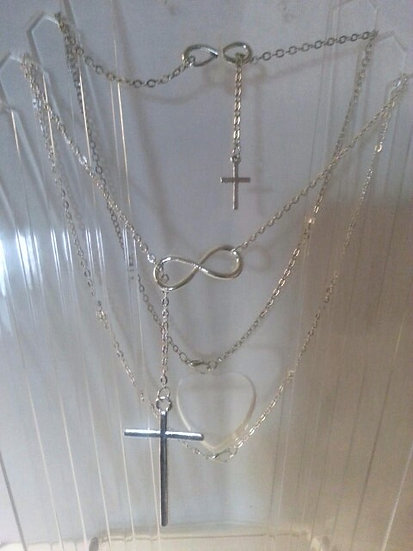 Infinity & Cross Silver Necklace