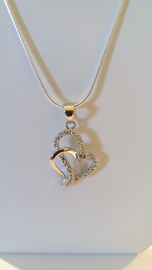 Genuine Sterling Silver Double Heart Necklace