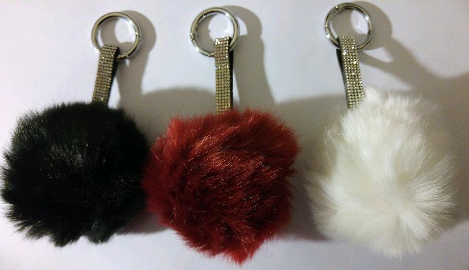 Bling Pom Pom Ball Keychains