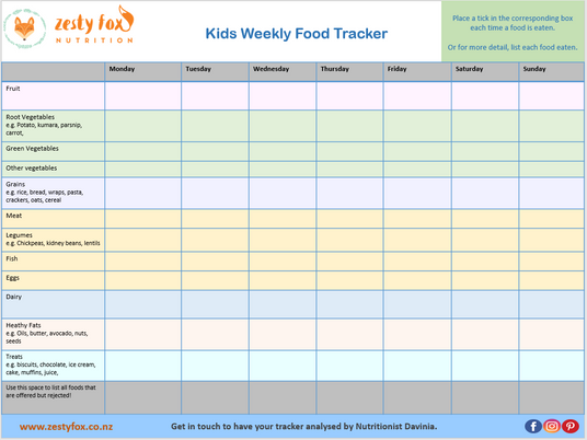 Kids Weekly Food Tracker