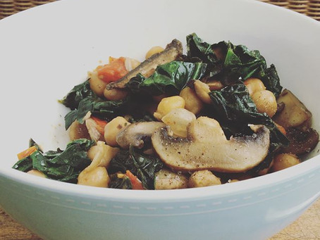 Chickpea, Spinach and Mushroom Saute