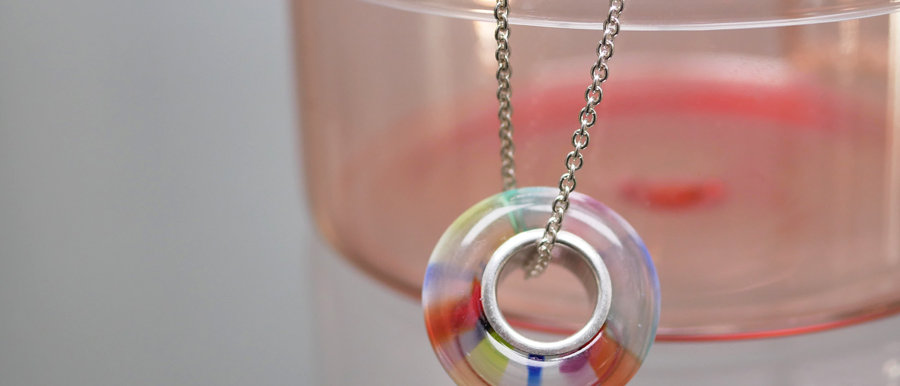 Glasperle mit Silber   Glass focal bead with silver core