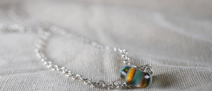 Streifenperle mit Silber   Big hole bead