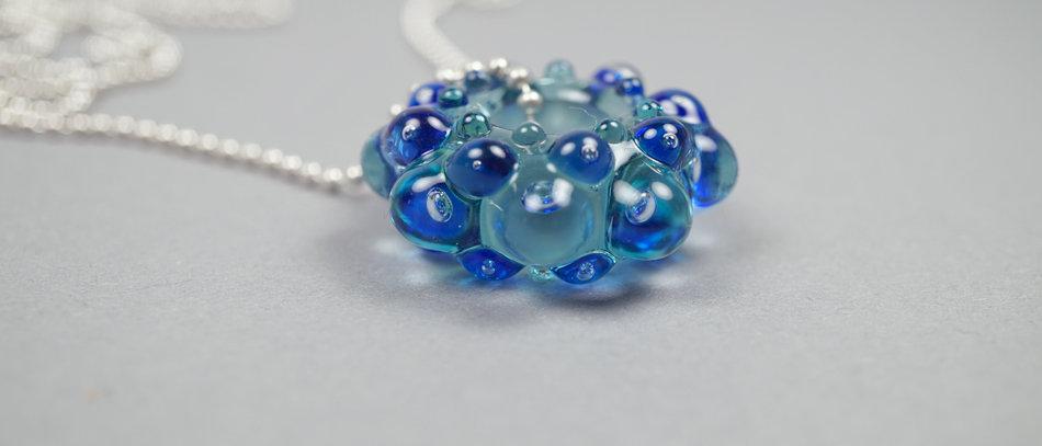 Glasanhänger mit Luftblasen | Blue glass bead