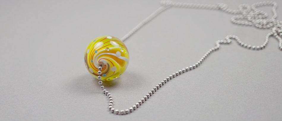 Kanariengelbe Murmel-Perle | Yellow focal bead