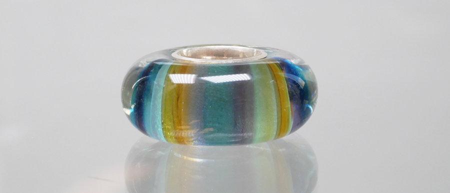 Große Perle mit Streifen | Glass focal bead