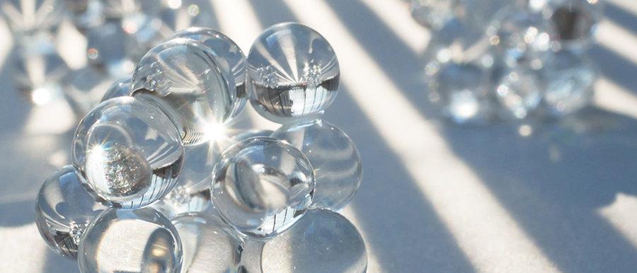 Kette mit Anhänger   Clear glass pendant