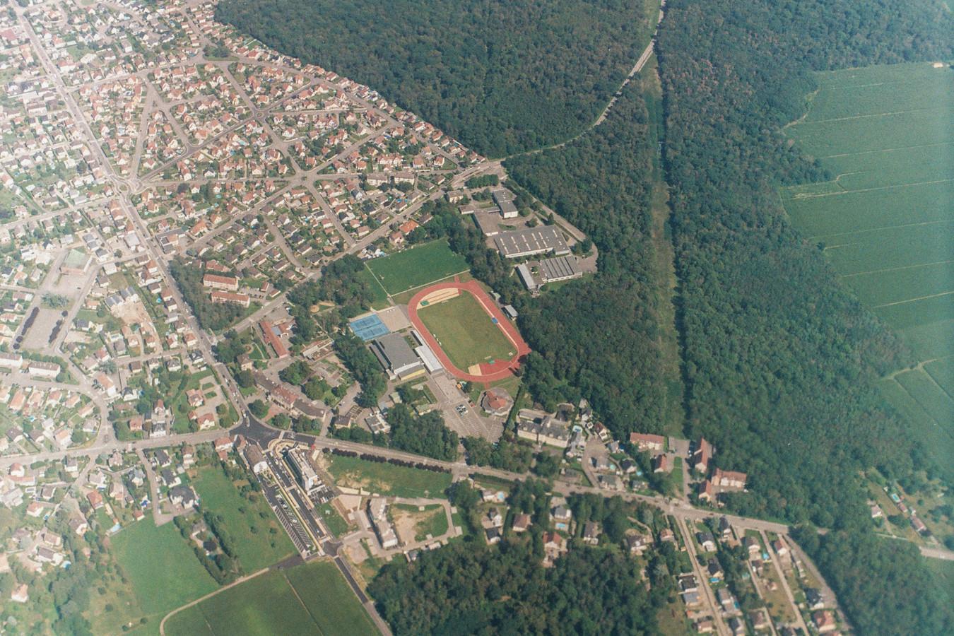 Aerial of a football field near Basel