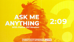 """A person looking inquisitive with the title text """"Ask me anything with Pastor Bill Newton"""" and a countdown clock"""