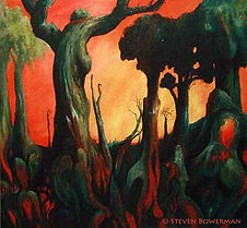 Painting of a forest at sunset