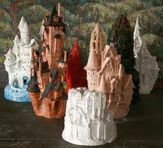 Castle sculptures made of clay