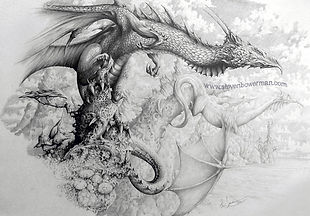 Fantasy pencil drawing of dragons