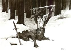 Guerrière dans la neige