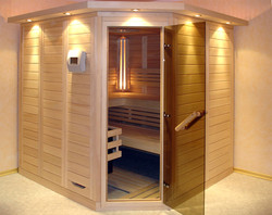 Vollholz-Sauna in Fichte