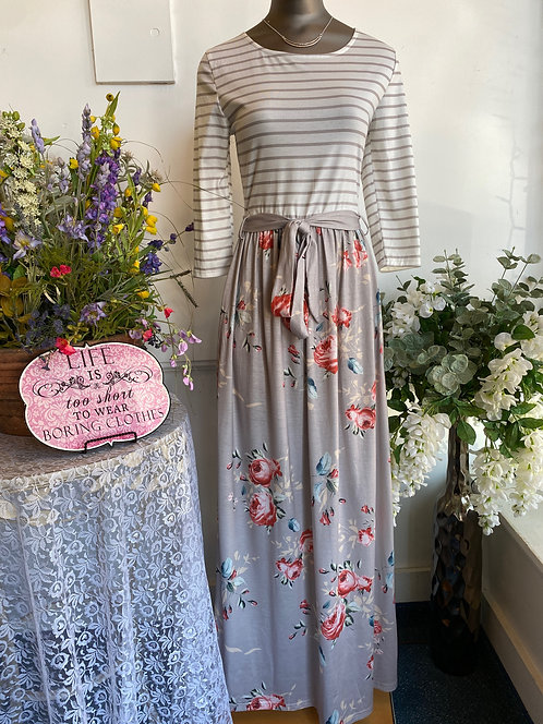 Merokeety Tan/White Stripe & Floral 3/4 Sleeve Jersey Dress - Size S