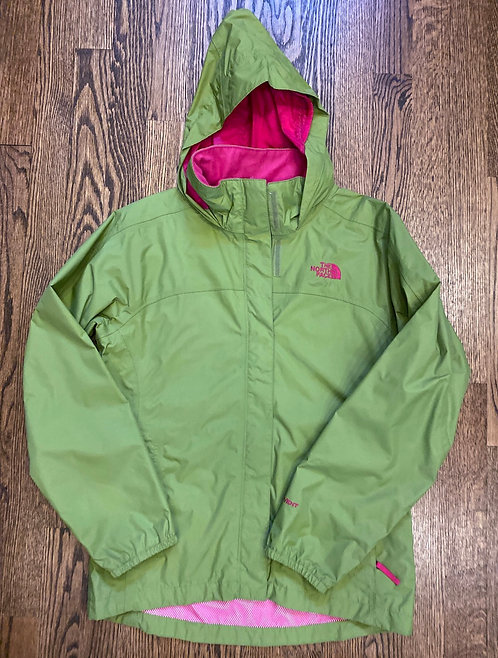 North Face Green w/Pink Spring Jacket - Size Girls 14/16
