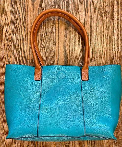 Teal Soft Faux Leather Tote