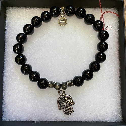 Black Bead with Hasma Charm Bracelet