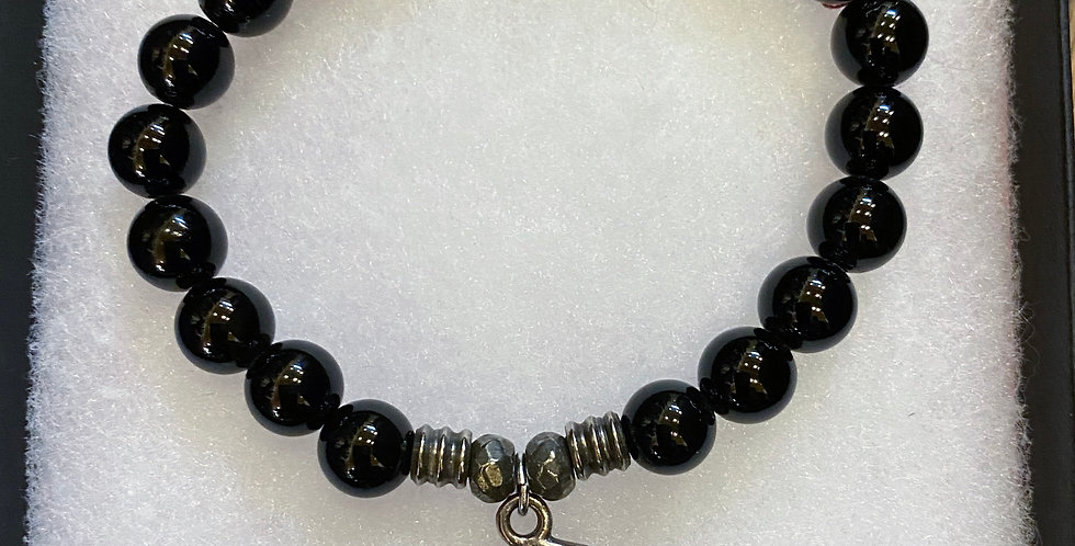 Black Bead with Hasma Charm Bracelet