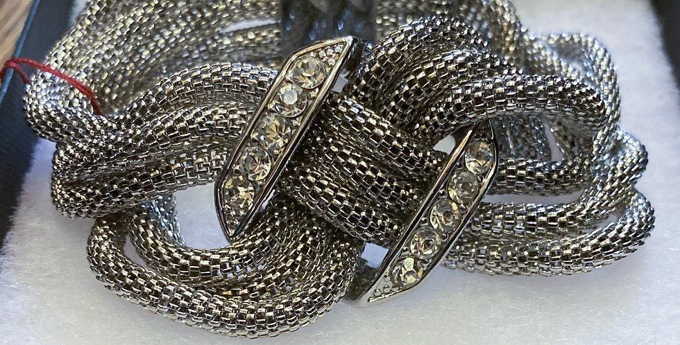 Silver & Rhinestone Twist Bracelet