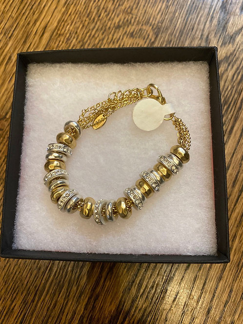 Gold & Silver with Rhinestone Bracelet