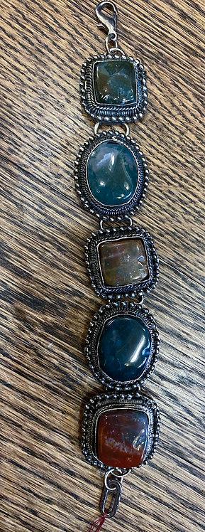 Multi Stone Dark Silver Bracelet