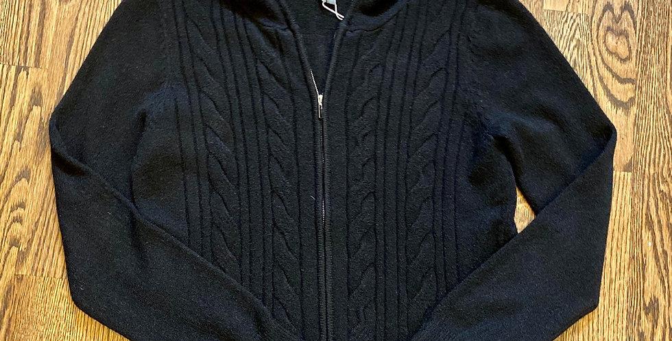 Merick Black Cable Knit Soft Zip Hoodie -  Size M