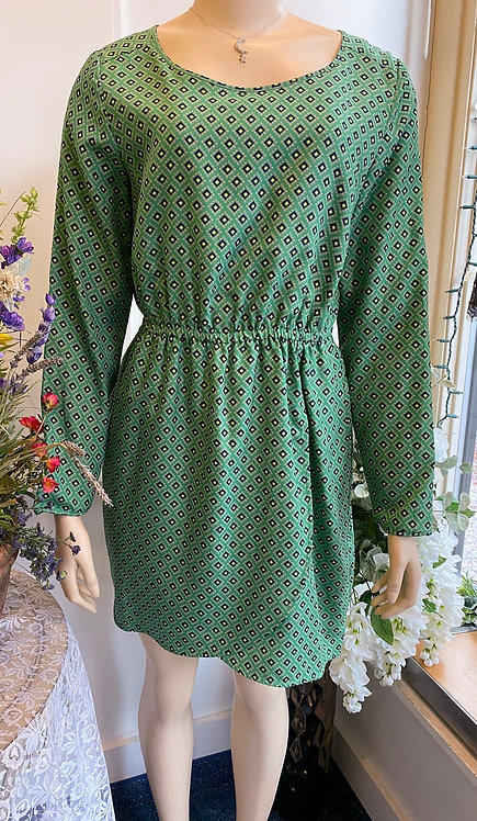 JCrew Green/Navy Print Jersey Dress - Size 8