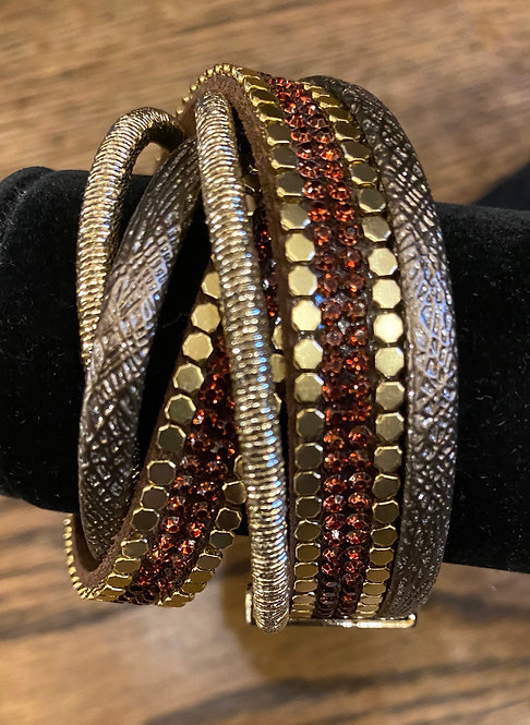 Magnetic Double Wrap Rhinestone Bracelet