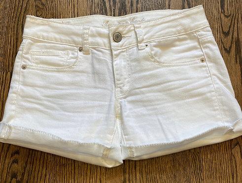 American Eagle White Stretch Denim Shorts - Size 2